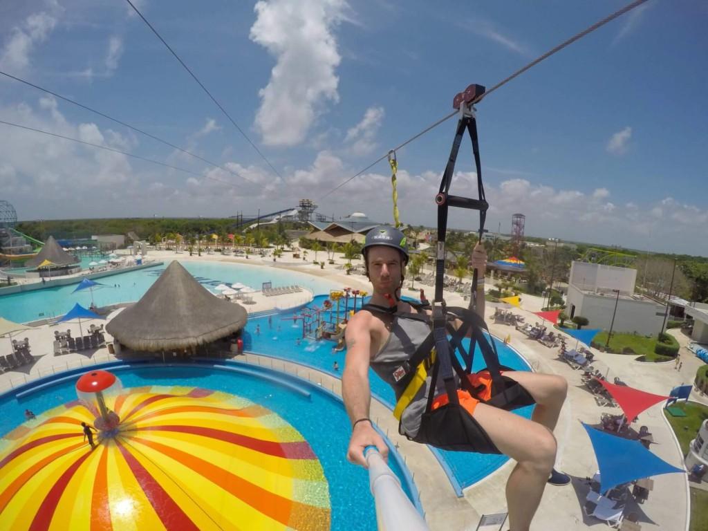 The zipline at Wet'n Wild Cancun