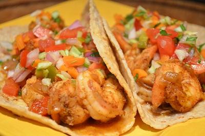 Tacos de camarón en Cancún